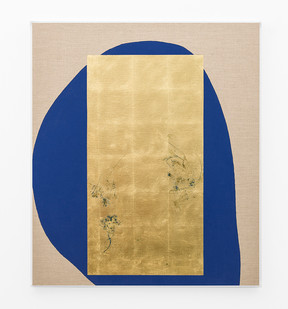Pierre Vermeulen | Hair orchid sweat print, blue form | 2018 | Sweat, Gold Leaf Imitate, Shellac and Acrylic on Belgian Linen | 104.5 x 93 cm