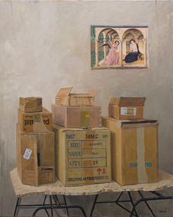 Simon Stone   Boxes with Annunciation   2016   Oil on Canvas   117 x 93 cm