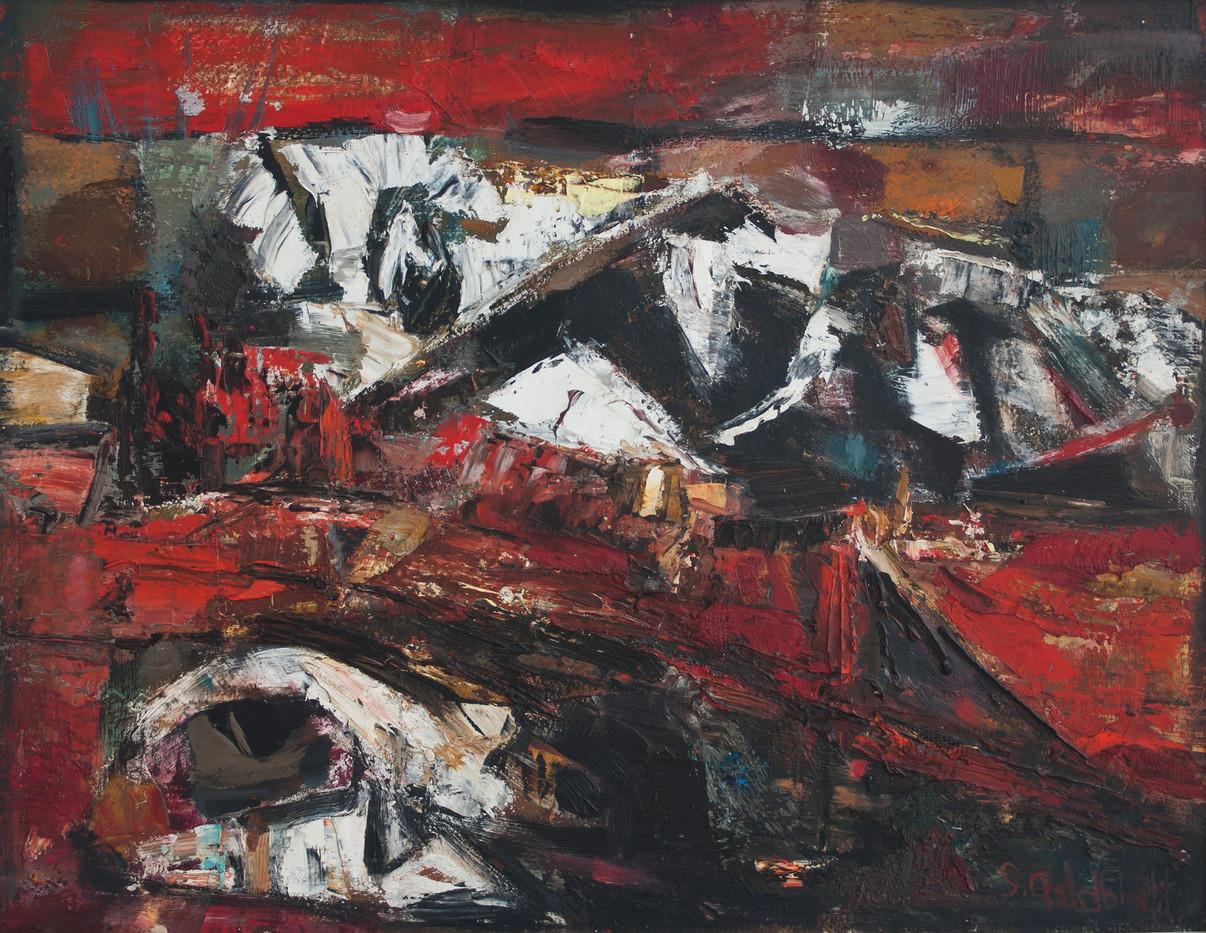 Sidney Goldblatt | Mine Dumps | Oil on Board | 40 x 50 cm