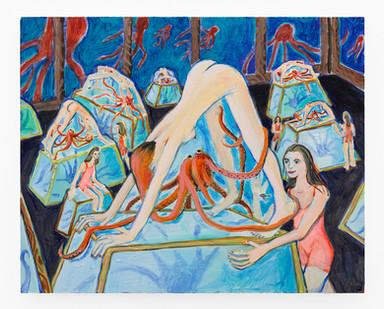 Marlene Steyn | octo pushy pods | 2019 | Oil on Board | 24 x 30 cm