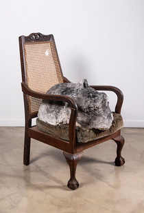 Johann Louw   Huisraad 1   2019   Paper Pulp, Plaster of Paris, Black Pigment and Charcoal, Found Chair   99 x 58 x 82 cm