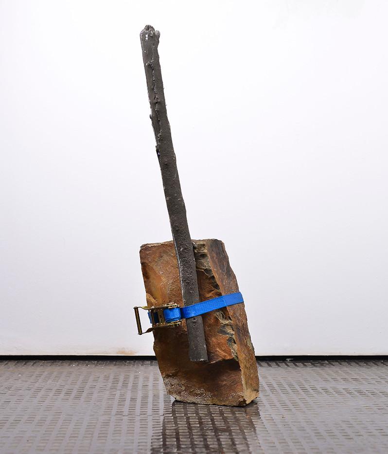 Ruann Coleman   Brace   2017   Cast Concrete Branch and Rock with Strap   84 x 20 x 13 cm