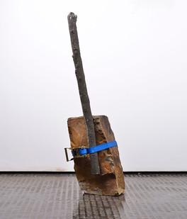 Ruann Coleman | Brace | 2017 | Cast Concrete Branch and Rock with Strap | 84 x 20 x 13 cm