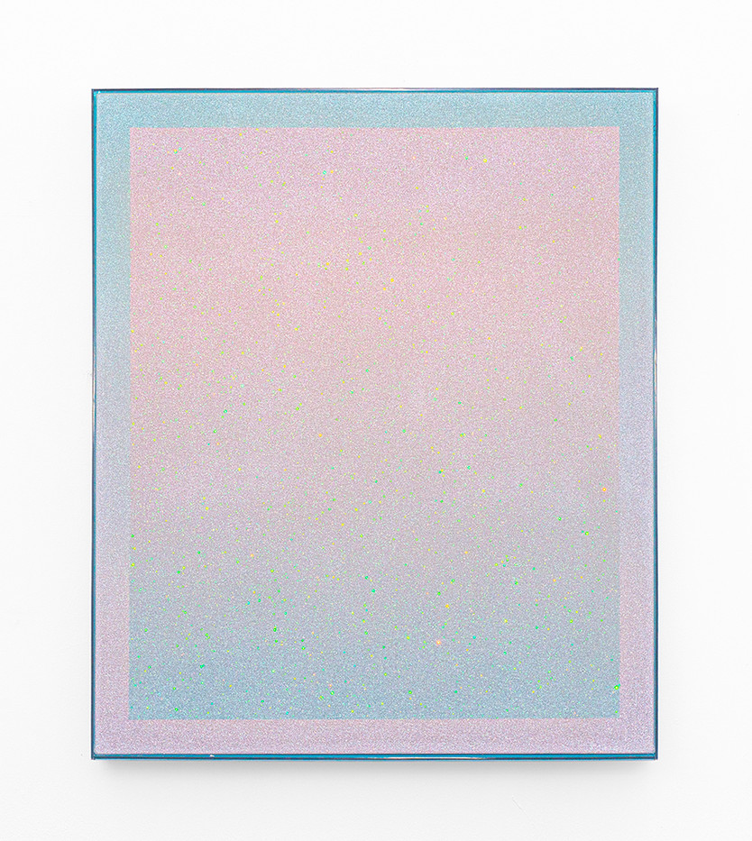 Rosie Mudge | I'll go to work / And I'll go to sleep / And I'll love the littler things, II | 2020 | Automotive Paint and Glitter Glue on Canvas | 72 x 62 cm