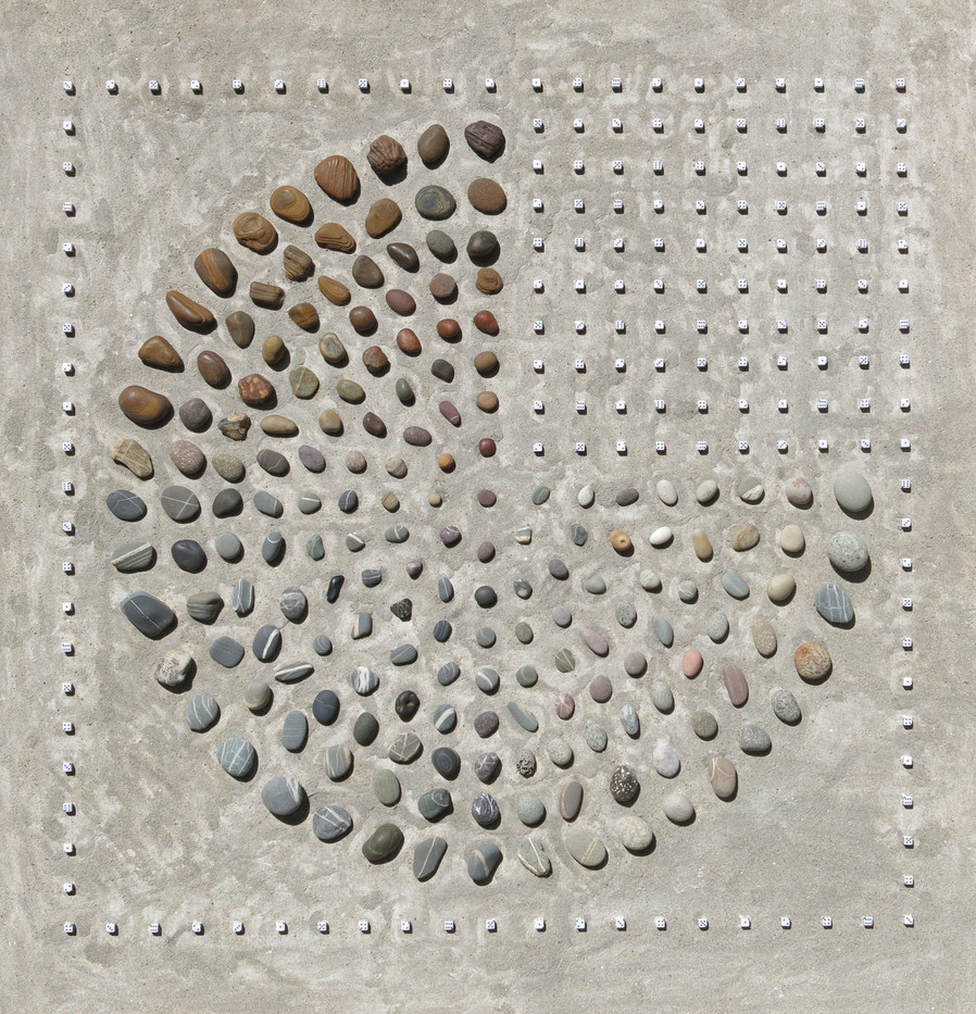 Willem Boshoff | Druid's Keyboard II | 2013 | Dice, Pebbles and Sand | 150 x 163 cm