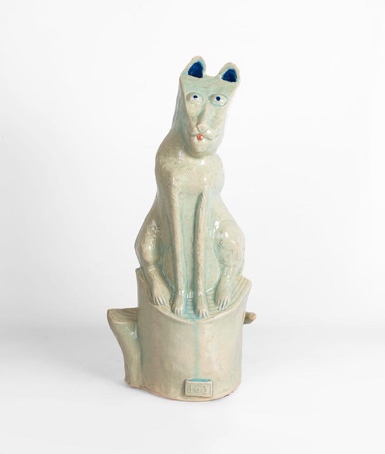 Hylton Nel   Dog on Stump   2019   Glazed Ceramic Stoneware   45 x 20 cm