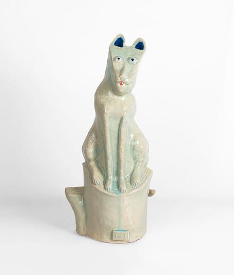 Hylton Nel | Dog on Stump | 2019 | Glazed Ceramic Stoneware | 45 x 20 cm
