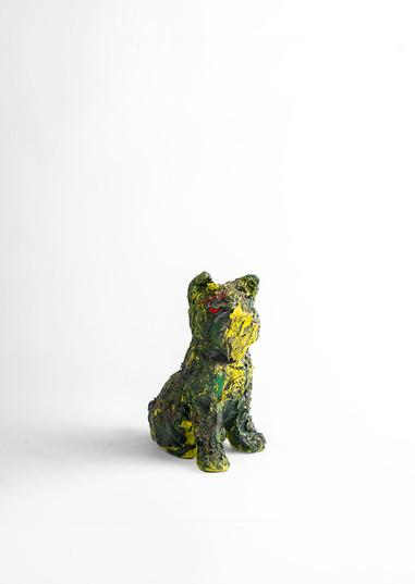 Georgina Gratrix | Yellow dog | 2020 | Oil on Ceramic | 23 x 11.5 x 16 cm