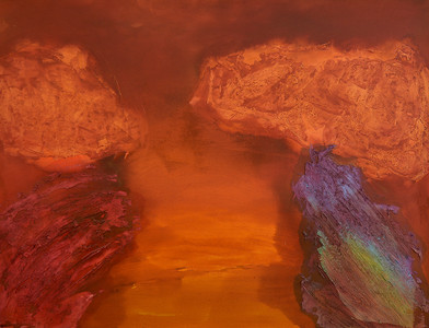 Kevin Atkinson | Dusk Earth Forces | c. 1980 | Acrylic and Marble Dust on Canvas | 175 x 226 cm