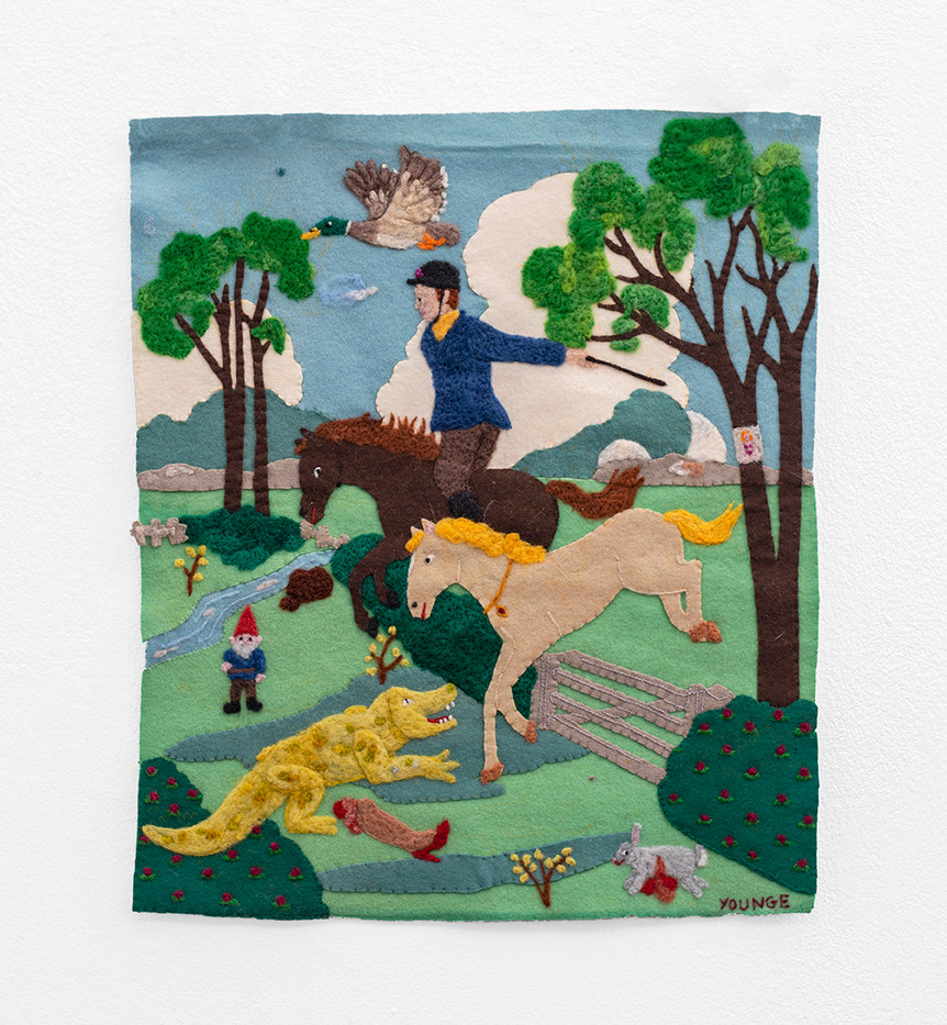 Michaela Younge   'This is a quick horse. This is a horse that runs very fast'   2020   Merino Wool on Found Material   46.5 x 39.5 cm