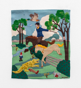Michaela Younge | 'This is a quick horse. This is a horse that runs very fast' | 2020 | Merino Wool on Found Material | 46.5 x 39.5 cm