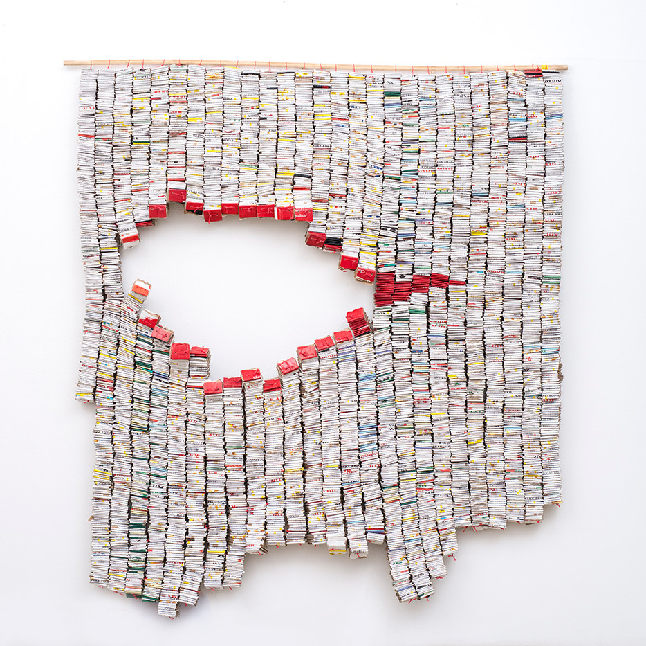 Wallen Mapondera | Gomba | 2019 | Cardboard and Laminated Hessian | 190 x 176 cm