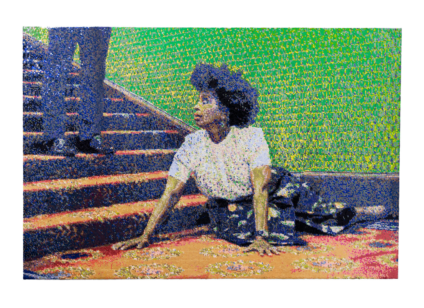 Frances Goodman | The Staircase | 2020 | Hand-Stitched Sequins on Canvas | 114 x 170 cm