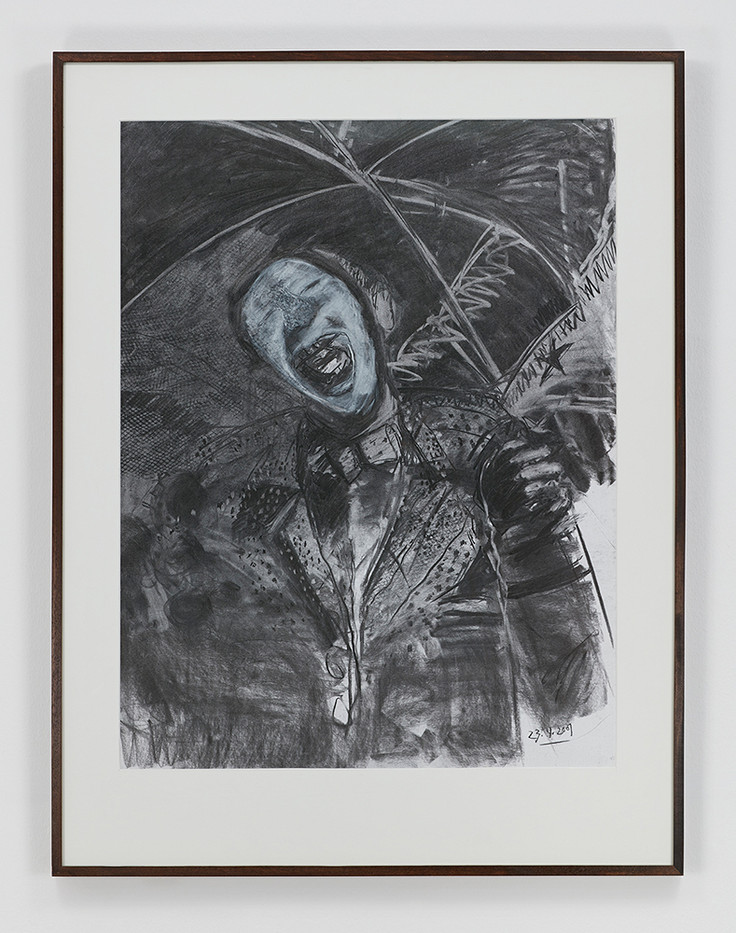 Albert Adams | Portrait of a Man with Parasol (Celebration Series) | 2001 | Charcoal, Wash on Paper | 122 x 93 cm