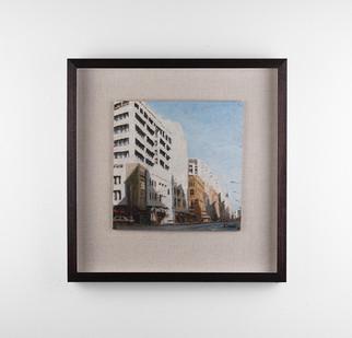 Simon Stone | Commissioner Street Midday | 2018 | Oil on Cardboard | 28 x 28 cm