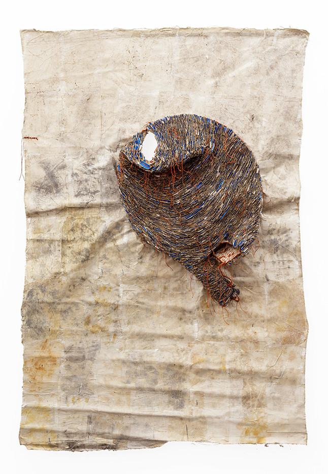 Wallen Mapondera | Huchi neMukaka | 2019 | Cardboard, Waxed Paper and Thread on Canvas | 226 x 143 x 27 cm