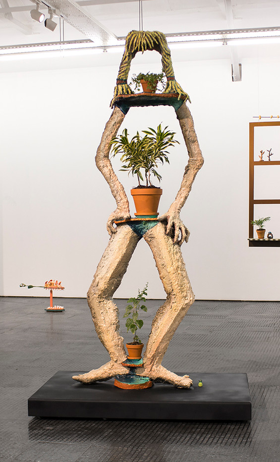Marlene Steyn | I used to be a potplant | 2016 | Painted Bronze and Found Objects | 230 x 76 x 44 cm | Edition of 3 + 1 AP