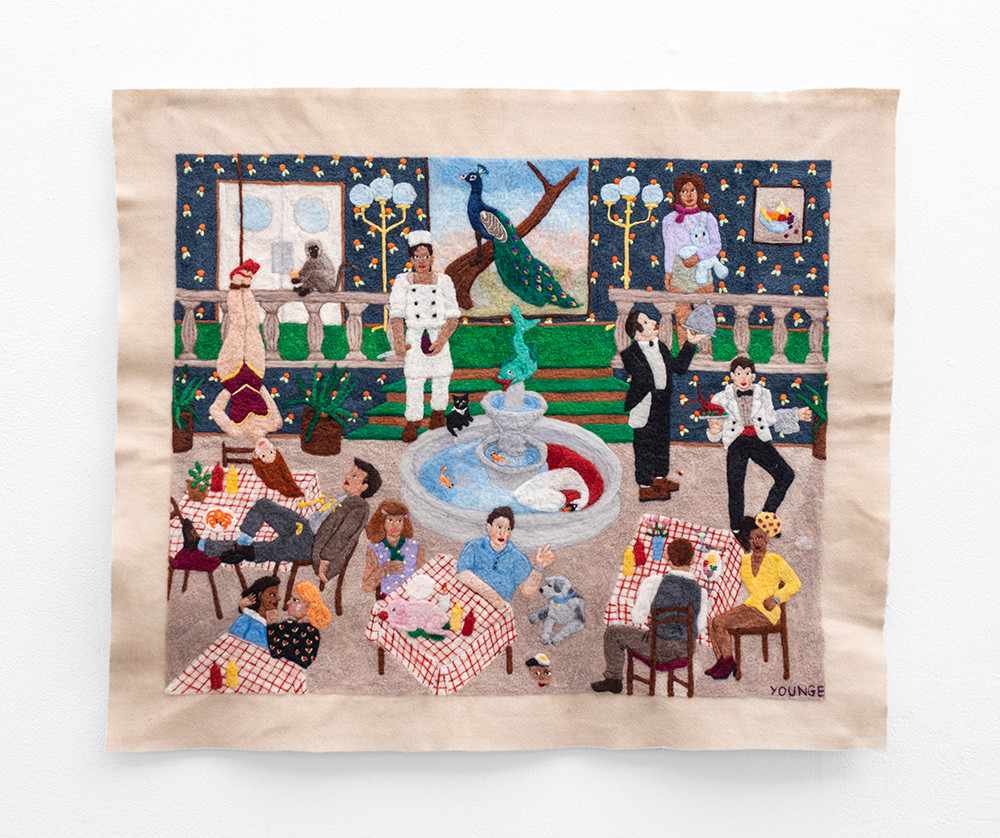Michaela Younge   'He had worked there for as long as he could wield a knife but he still dreamed of the circus'   2020   Merino Wool on Felt   70 x 83.5 cm