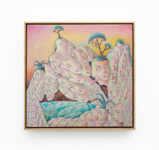 Marlene Steyn   the peeking peaks   2020   Oil on Canvas   51 x 51 cm