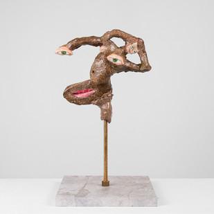 Marlene Steyn   Her In Her Voices (Tree Dweller)   2017   Oil Paint on Ceramic, Brass, Marble   20 x 20 cm