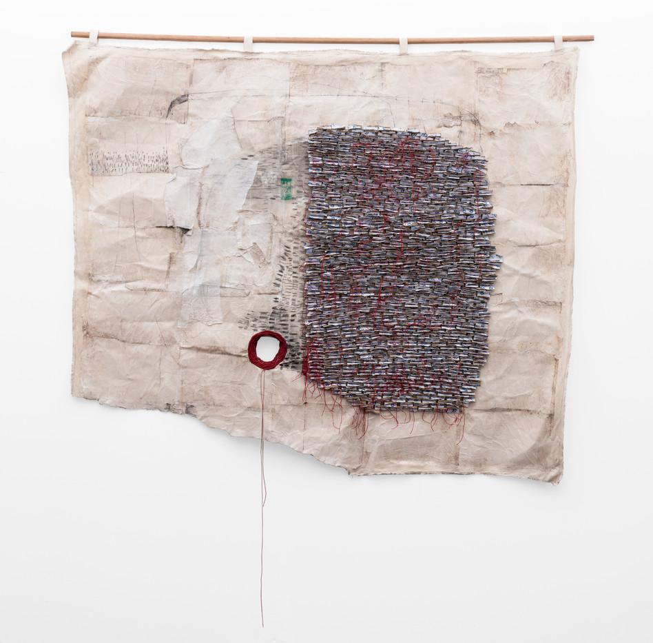 Wallen Mapondera | Untitled | 2019 | Cardboard, Waxed Thread and Wax Paper on Canvas | 152 x 217 cm