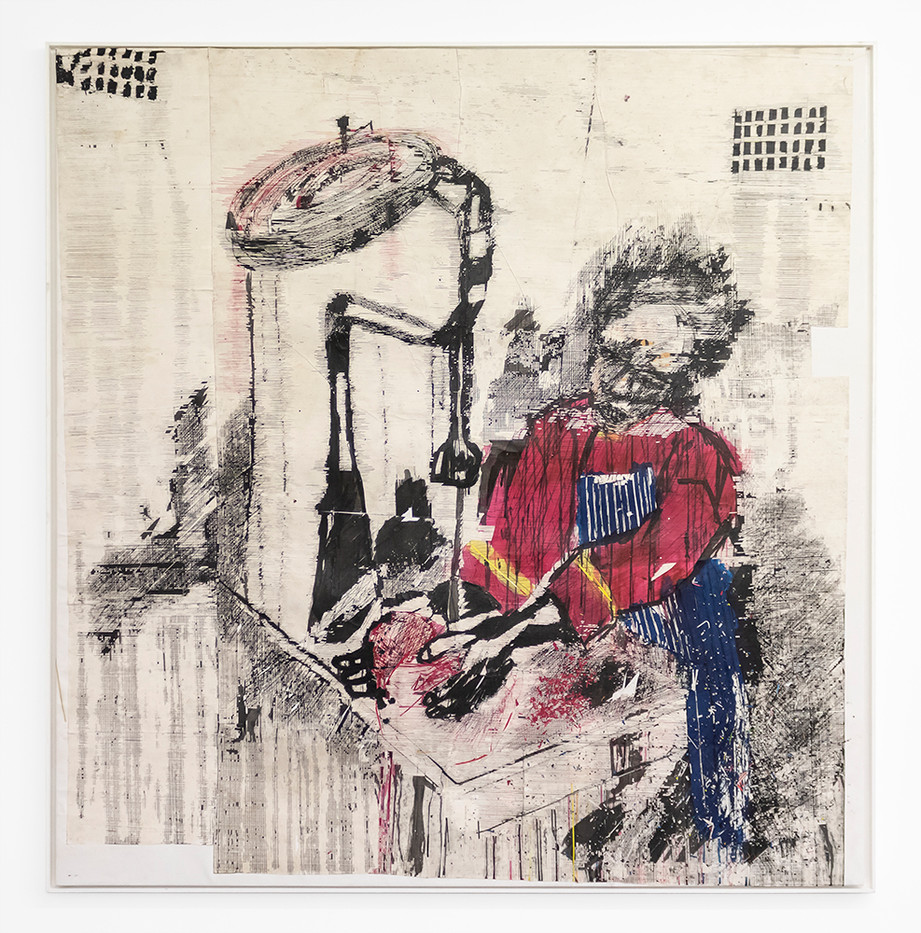Gareth Nyandoro | The Butcher | 2019 | Ink on Paper Mounted on Canvas | 170 x 165 cm