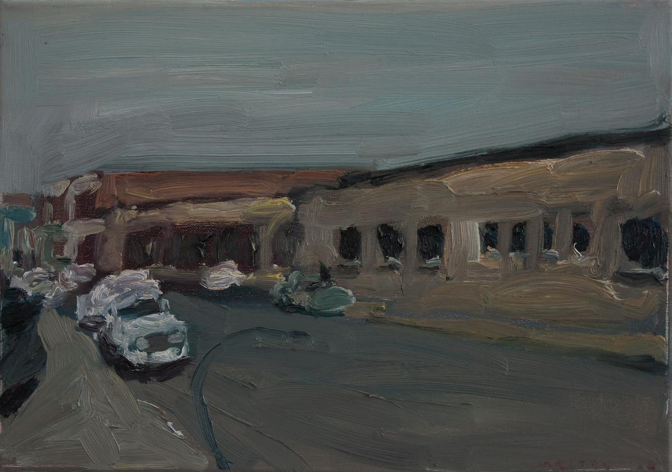 Anton Karstel | Property (Village Main) | 2014 | Oil on Canvas | 29.5 x 42.5 cm
