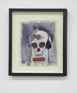 Themba Shibase | Kigali Blues II (Skull) | 2017 | Oil on Canvas | 32 x 26 cm