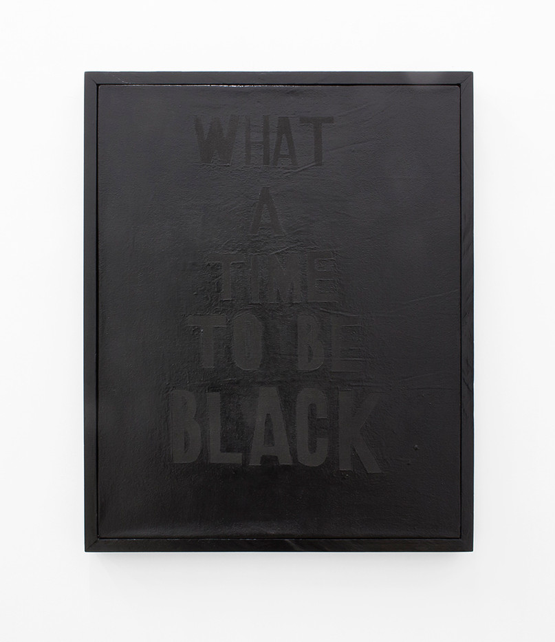 Katlego Tlabela | Man, What a Time | 2016 | Black Pearl Pigment and Enamel Screenprint on Canvas | 80 x 65 cm