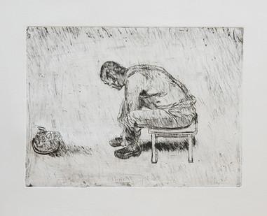 Johann Louw | Vooroorbukkend | 2004 | Etching | 22 x 30 cm