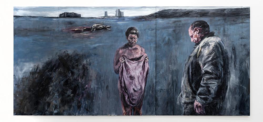 Johann Louw | Op Valsbaai, Skemeraand | 2020 | Oil on Canvas | 207.5 x 451 cm