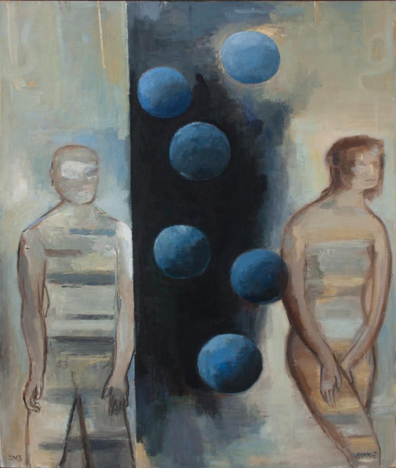 Simon Stone   Six Blue Balls   2013   Oil on Canvas   116.5 x 93 cm