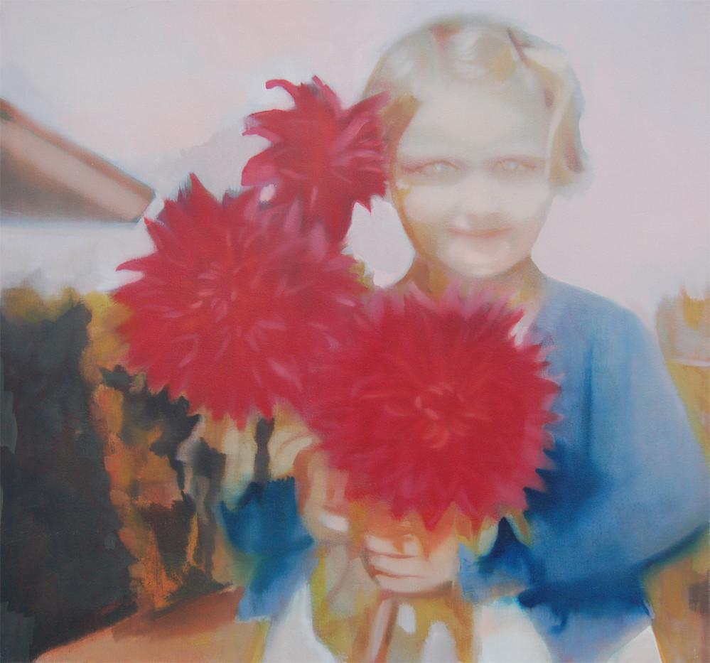 Kate Gottgens   Girl with Dahlias   2013   Oil on Canvas   77.5 x 80 cm