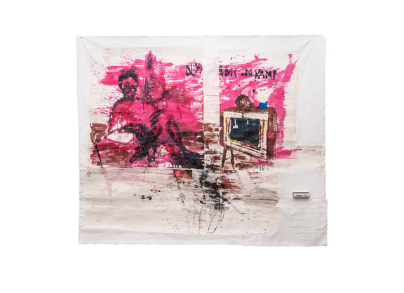 Gareth Nyandoro | Revolution will be televised | 2019 | Ink on Paper, Mounted on Canvas, TV Decoder | 215 x 267 cm
