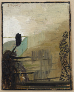 Simon Stone   Dot Man at Side   2014   Oil on Cardboard   32 x 25 cm