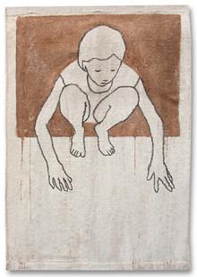 Valerio Berruti | Udaka C | 2012 | Fresco, Oil Pastel and Red Soil on Jute | 130 x 90 cm