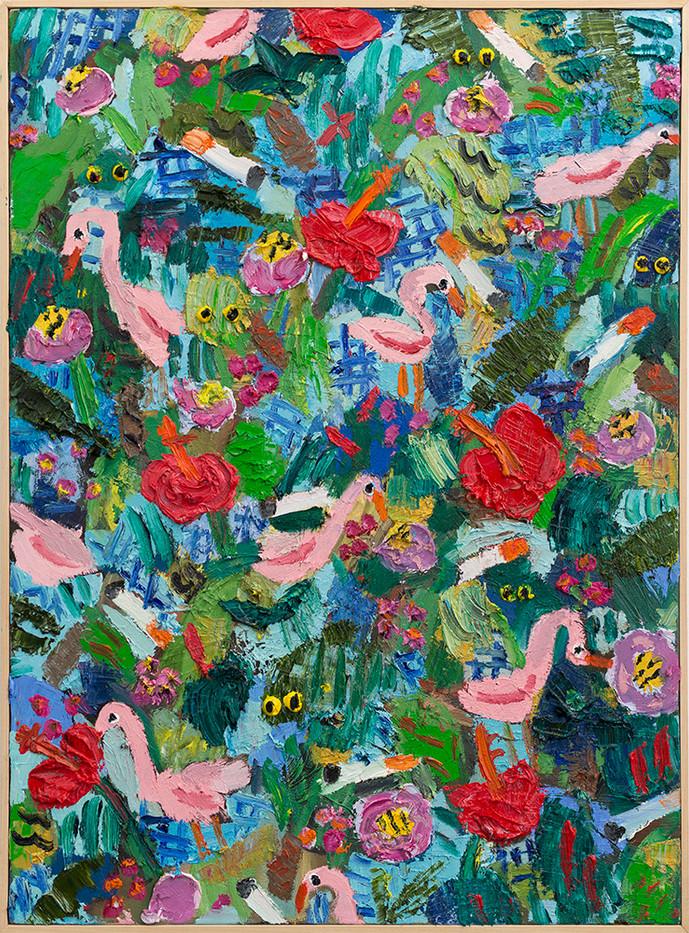 Georgina Gratrix | Flamingos Hibiscus | 2017 | Oil on Canvas | 100 x 75 cm