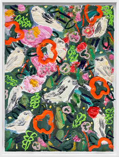 Georgina Gratrix | Wallpaper for Birds | 2019 | Oil on Canvas | 64.5 x 49 x 6 cm
