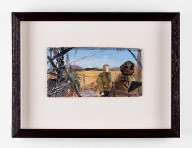 Simon Stone | The Visit | 2017 | Oil on Cardboard | 11 x 23 cm
