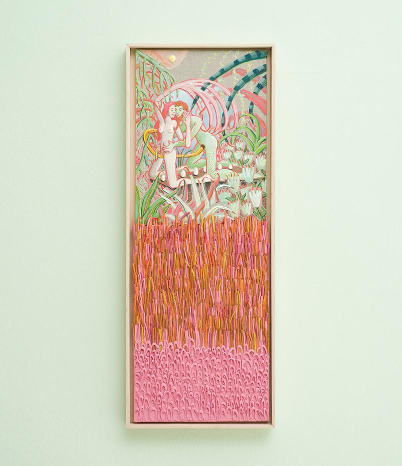Marlene Steyn & Gabrielle Kruger | The we in weedings | 2018 | Acrylic on Board & Oil on Linen Board | 93 x 31.5 cm