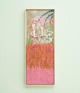 Marlene Steyn & Gabrielle Kruger   The we in weedings   2018   Acrylic on Board & Oil on Linen Board   93 x 31.5 cm