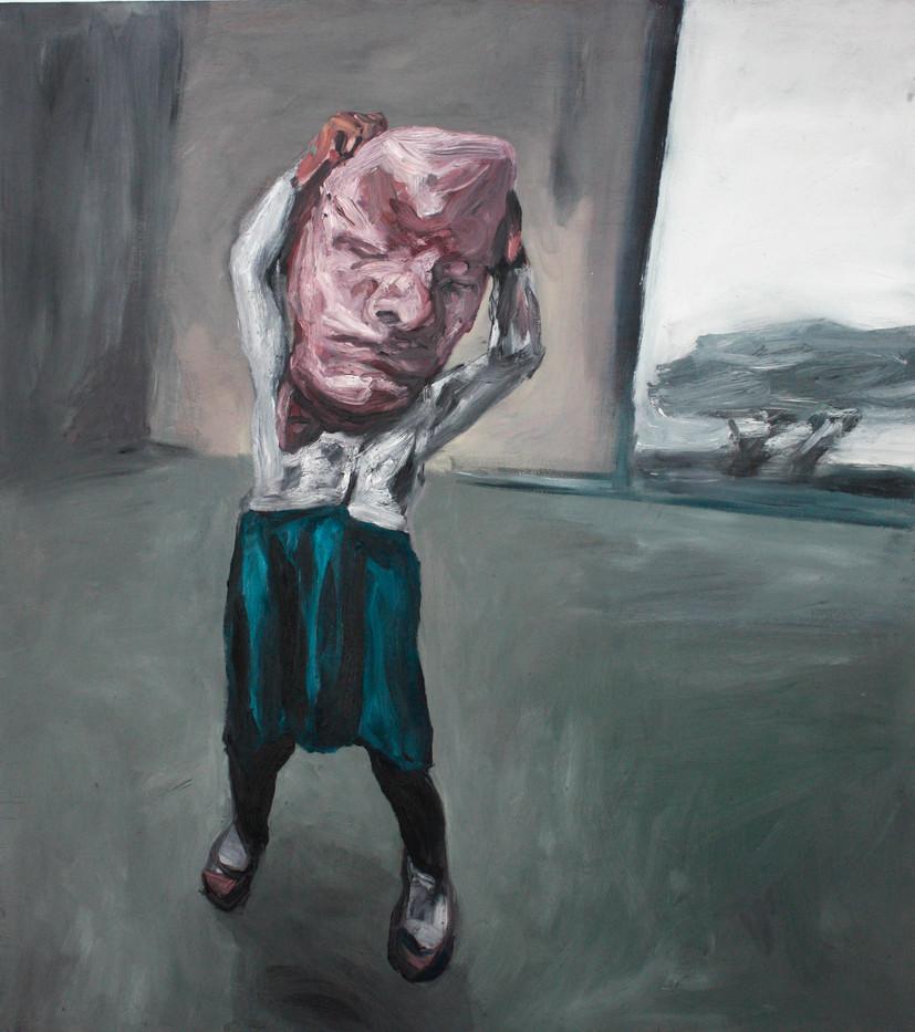 Johann Louw   Meisie met Rubber Masker (Girl with Rubber Mask)   2012   Oil on Board   122 x 118 cm