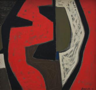 Erik Laubscher | Red Fragment | 1961 | Oil on Board | 42 x 45 cm