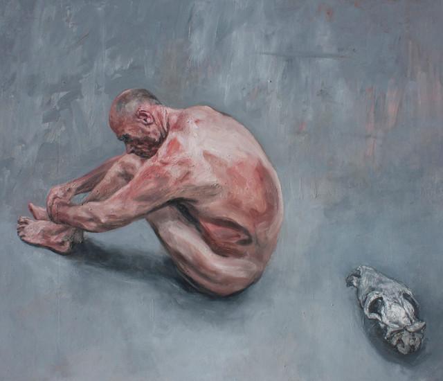 Johann Louw   Sittende Man en Skedel   2013   Oil on Plywood   244 x 285 cm