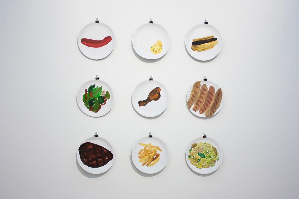 Georgina Gratrix | Hungry | 2014 | Watercolour on Paper Plates | 23 cm Each