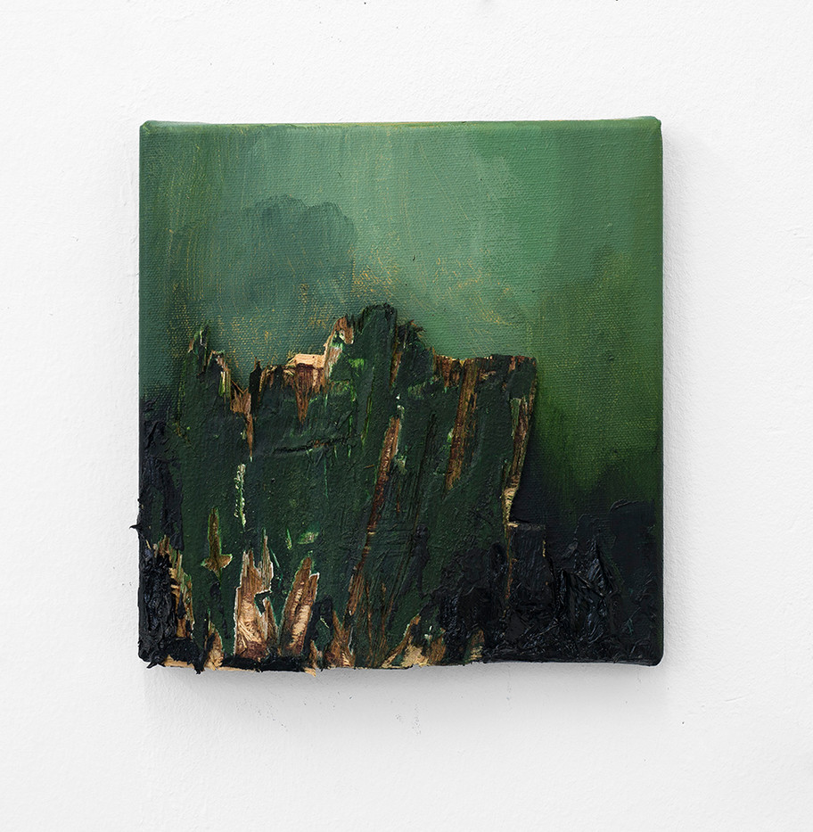 Jake Aikman | Incursion | 2016 | Oil and Wood Fragment on Canvas | 20.5 x 20.5 cm