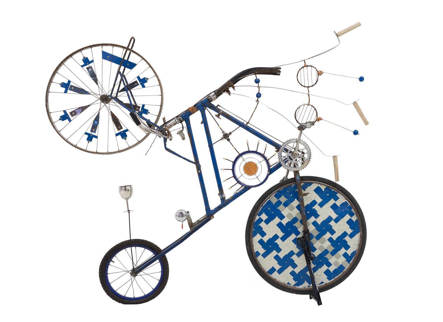 Cyrus Kabiru | The Blue Mamba | 2017 | Steel and Found Objects | 158 x 110 x 18 cm