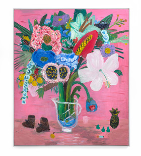 Georgina Gratrix | Valley Road Flowers | 2019 | Oil on Canvas | 190 x 160 cm