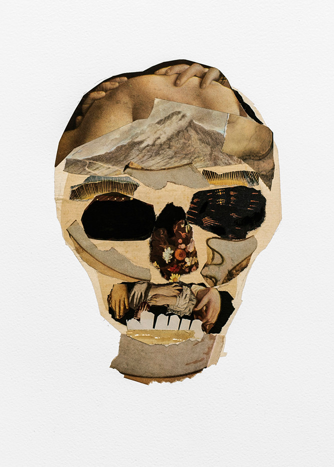 Kate Gottgens | Vanitas II (Skull with Renaissance teeth) | 2020 | Collage on Paper | 76 x 56 cm