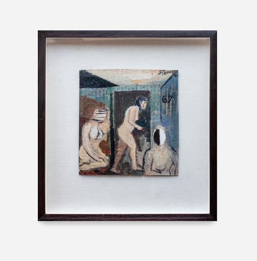 Simon Stone   Three Figures   2020   Oil on Cardboard   22 x 22 cm